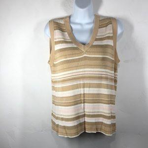 Merona tan & pink stripe sleeveless sweater large